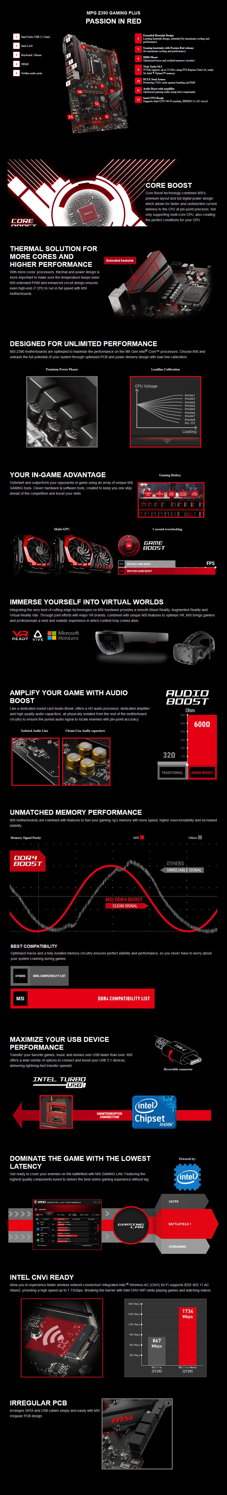 MSI MPG Z390 GAMING PLUS LGA 1151 ATX Motherboard - Desktop Overview 1