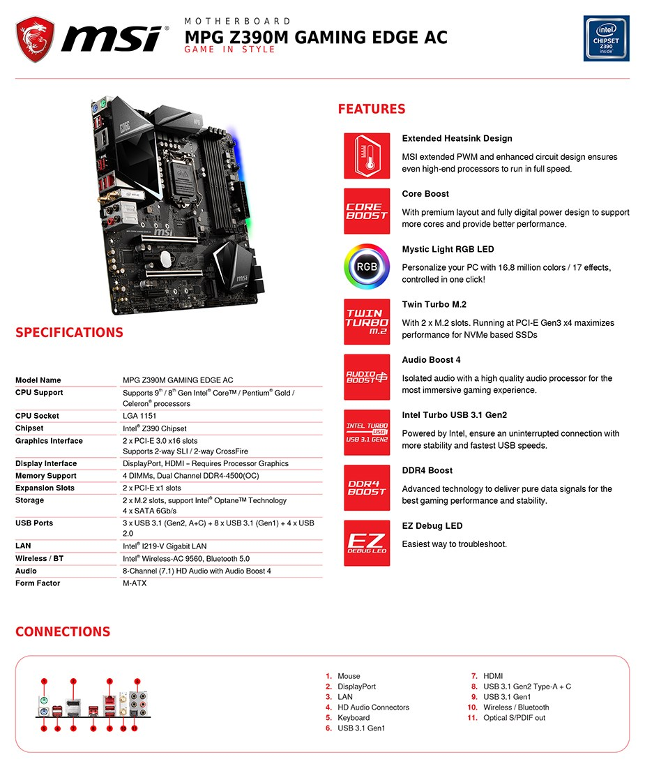 MSI MPG Z390M GAMING EDGE AC mATX Motherboard - Desktop Overview 2