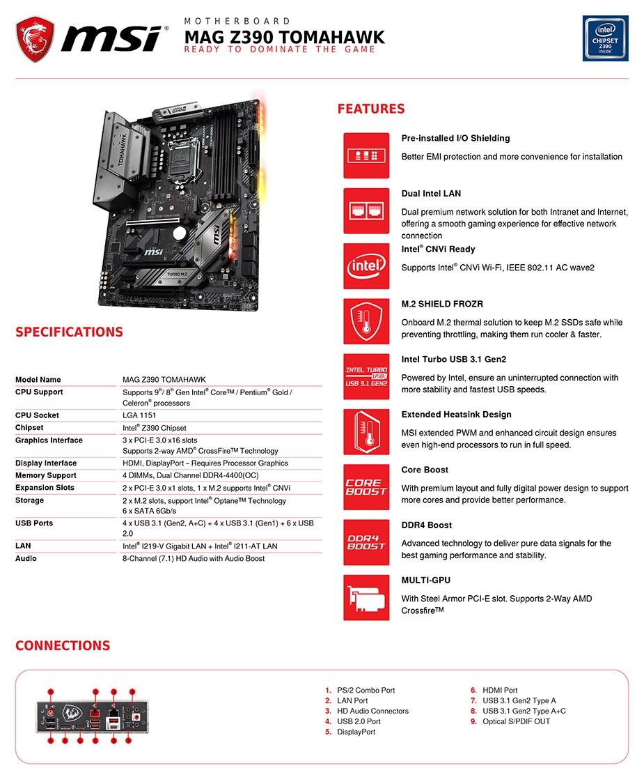 MSI MAG Z390 TOMAHAWK LGA 1151 ATX Motherboard - Desktop Overview 2