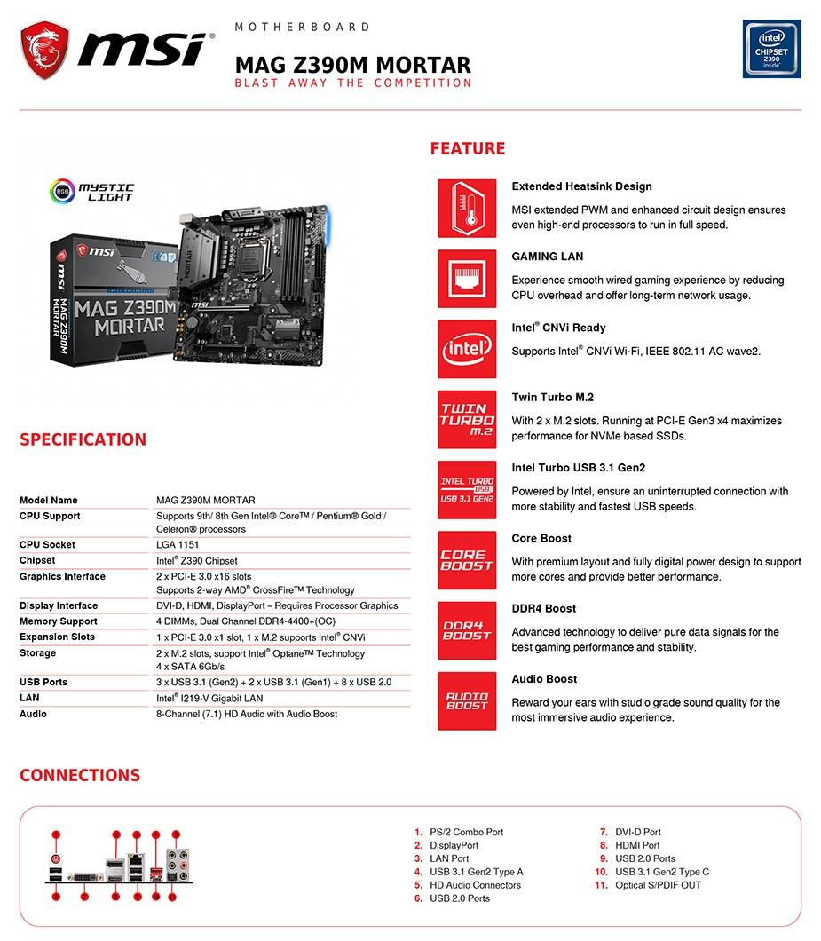 MSI MAG Z390M MORTAR LGA 1151 mATX Motherboard - Desktop Overview 2