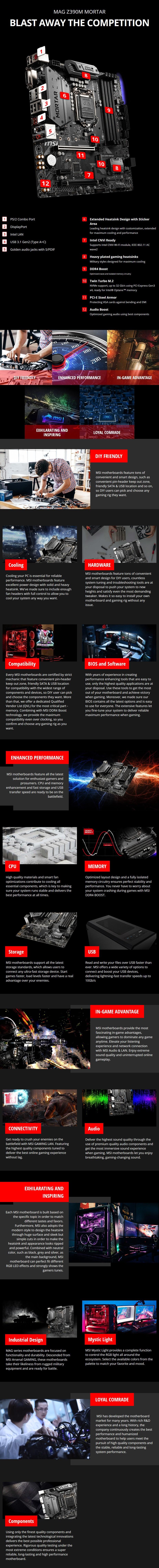 MSI MAG Z390M MORTAR LGA 1151 mATX Motherboard - Desktop Overview 1