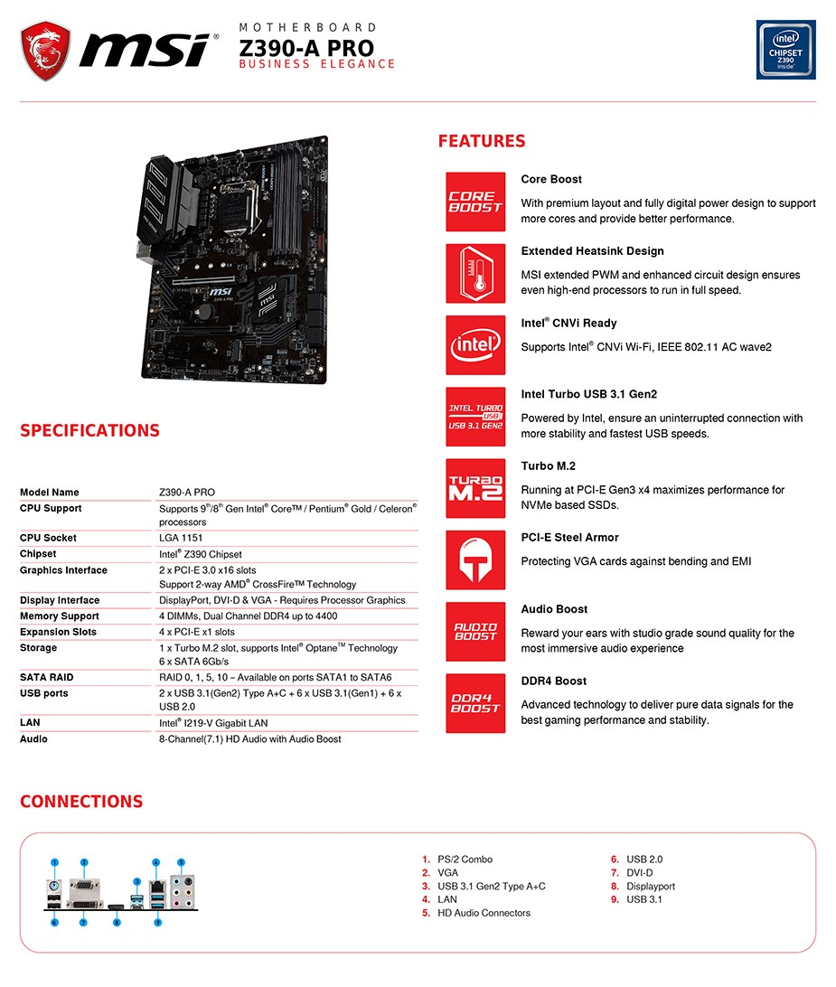 MSI Z390-A PRO LGA 1151 ATX Motherboard - Desktop Overview 2