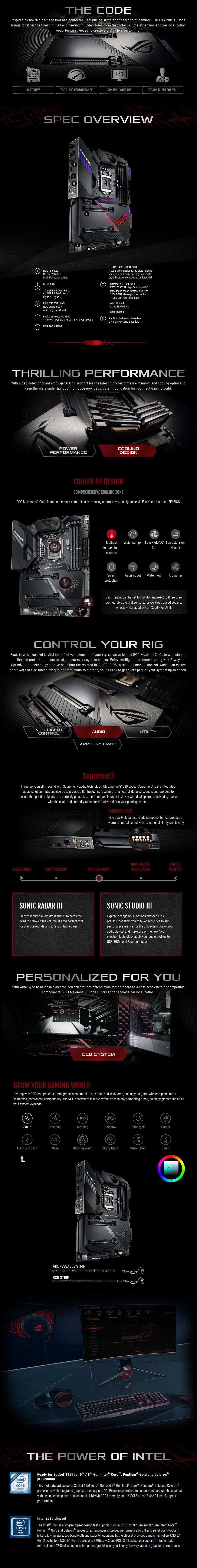 ASUS ROG Z390 MAXIMUS XI CODE LGA 1151 ATX Motherboard - Desktop Overview 1