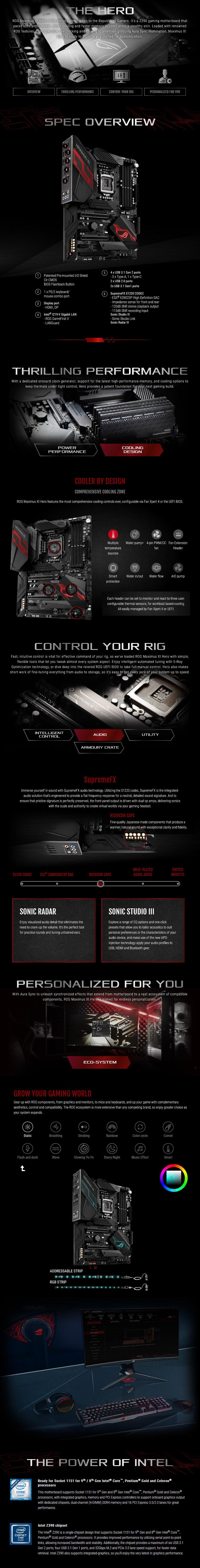 ASUS ROG Z390 MAXIMUS XI HERO LGA 1151 ATX Motherboard - Desktop Overview 1