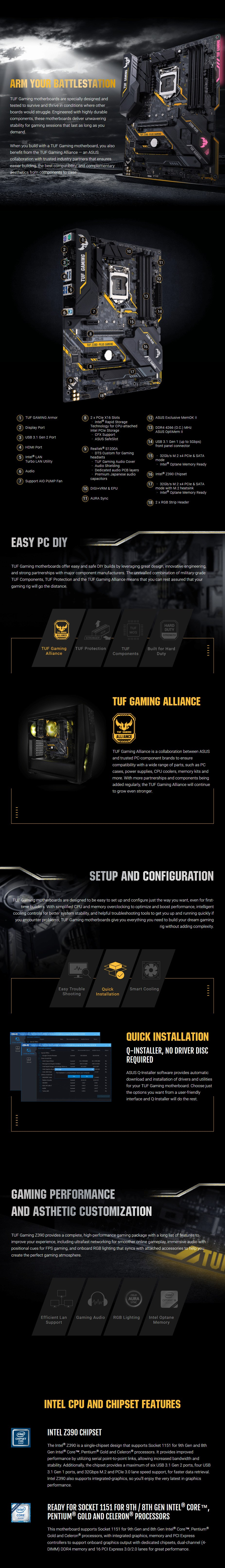 ASUS TUF Z390-PLUS GAMING LGA 1151 ATX Motherboard - Desktop Overview 1