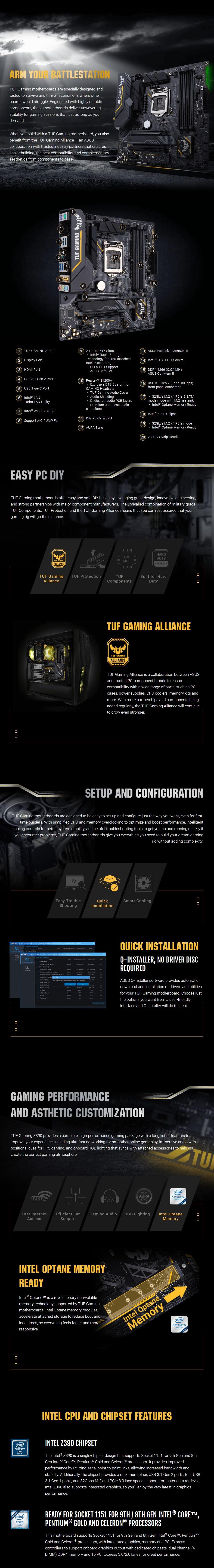 ASUS TUF Z390M-PRO GAMING WI-FI LGA 1151 mATX Motherboard - Desktop Overview 1