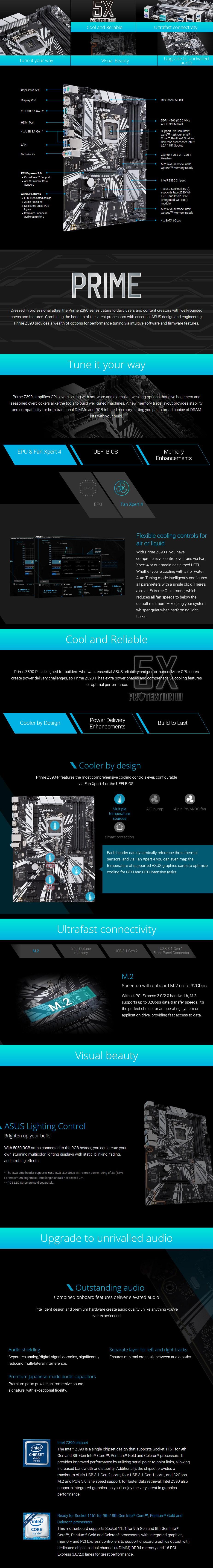 ASUS PRIME Z390-P LGA 1151 ATX Motherboard - Desktop Overview 1