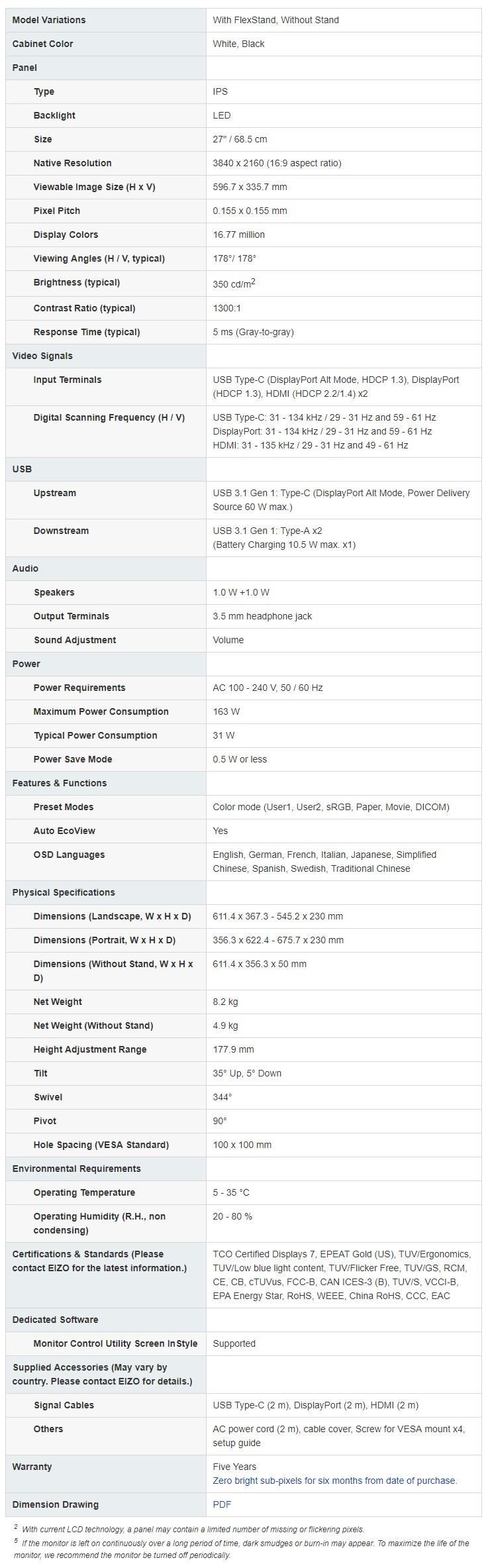 "Eizo FlexScan EV2785 27"" 4K UHD Professional IPS LED Monitor - Black - Desktop Overview 2"