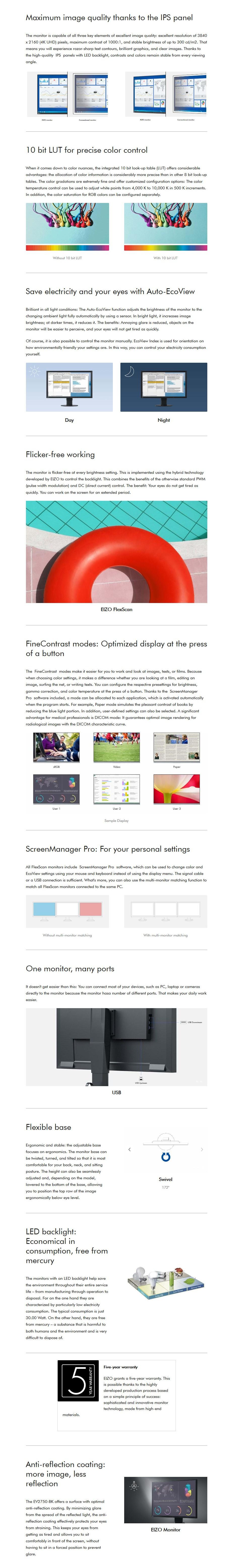 "Eizo FlexScan S1934 19"" SXGA IPS LED Monitor - Desktop Overview 1"