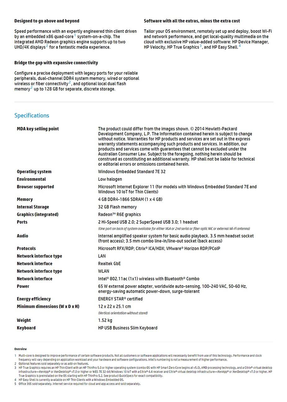 HP t630 Thin Client AMD Quad-core CPU 4GB 32GB Radeon R6E WES7E WIFI + BT - Desktop Overview 2