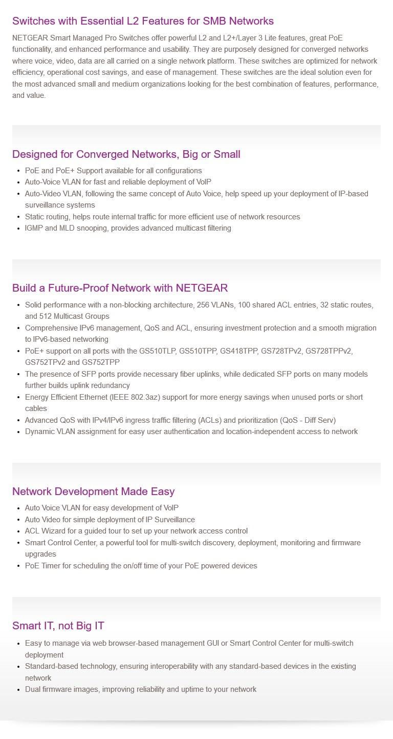 Netgear GS752TP 48-Port Gigabit PoE+ Smart Managed Pro Switch with 4 SFP Ports - Desktop Overview 3