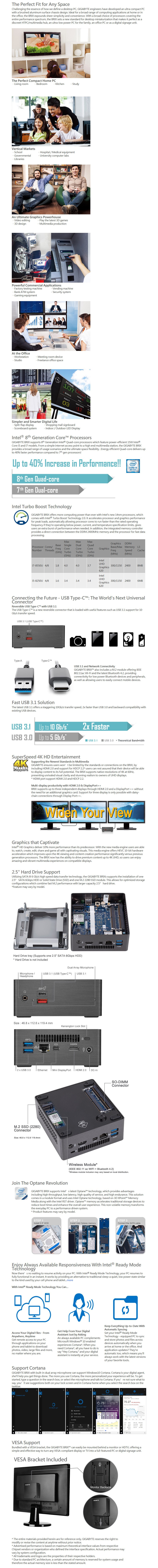 Gigabyte Brix GB-BRi5H-8250 Barebone Kit - Intel i5 8th Gen Processor - Desktop Overview 1