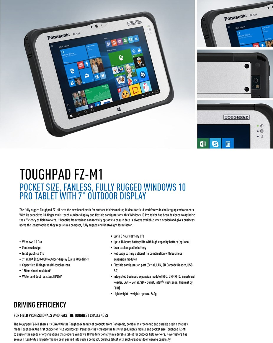 "Panasonic Toughpad FZ-M1 Mk3 7"" 128GB 4G Value Tablet Win10 Pro - desktop overview"