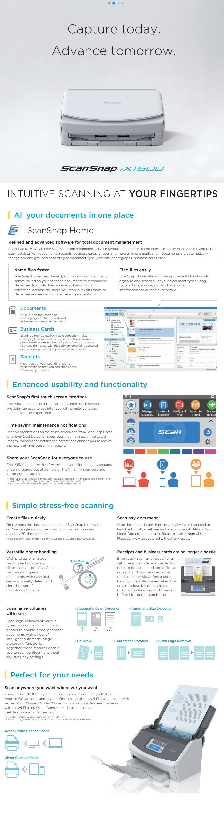Fujitsu ScanSnap iX1500 A4 Duplex Scanner - Desktop Overview 1