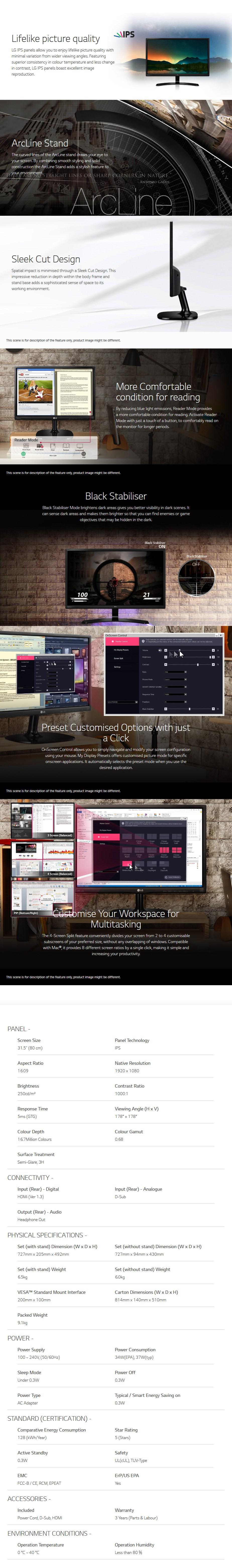 "LG 32MP58HQ 31.5"" Full HD IPS LED Monitor - Desktop Overview 1"