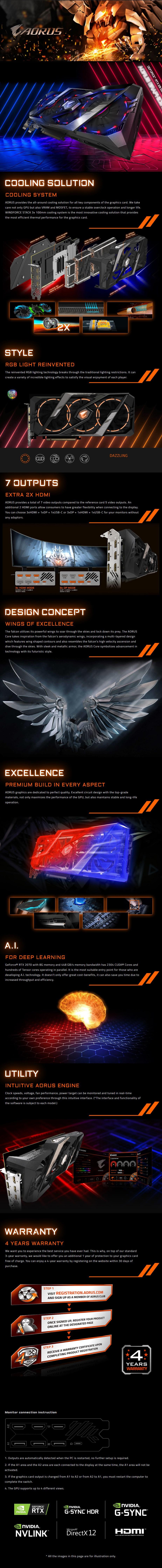 Gigabyte AORUS GeForce RTX 2070 8GB Video Card - Desktop Overview 1