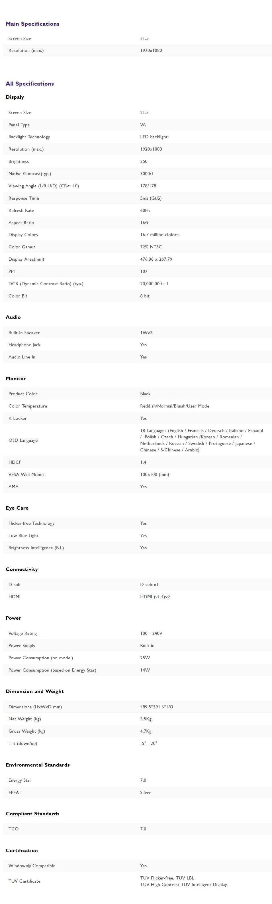 """BenQ GW2280 21.5"""" Full HD Eye-Care VA LED Monitor - Desktop Overview 2"""