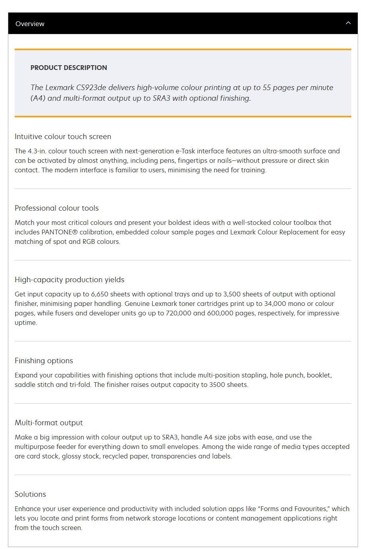 Lexmark CS923de A3 Colour Laser Printer - Desktop Overview 1