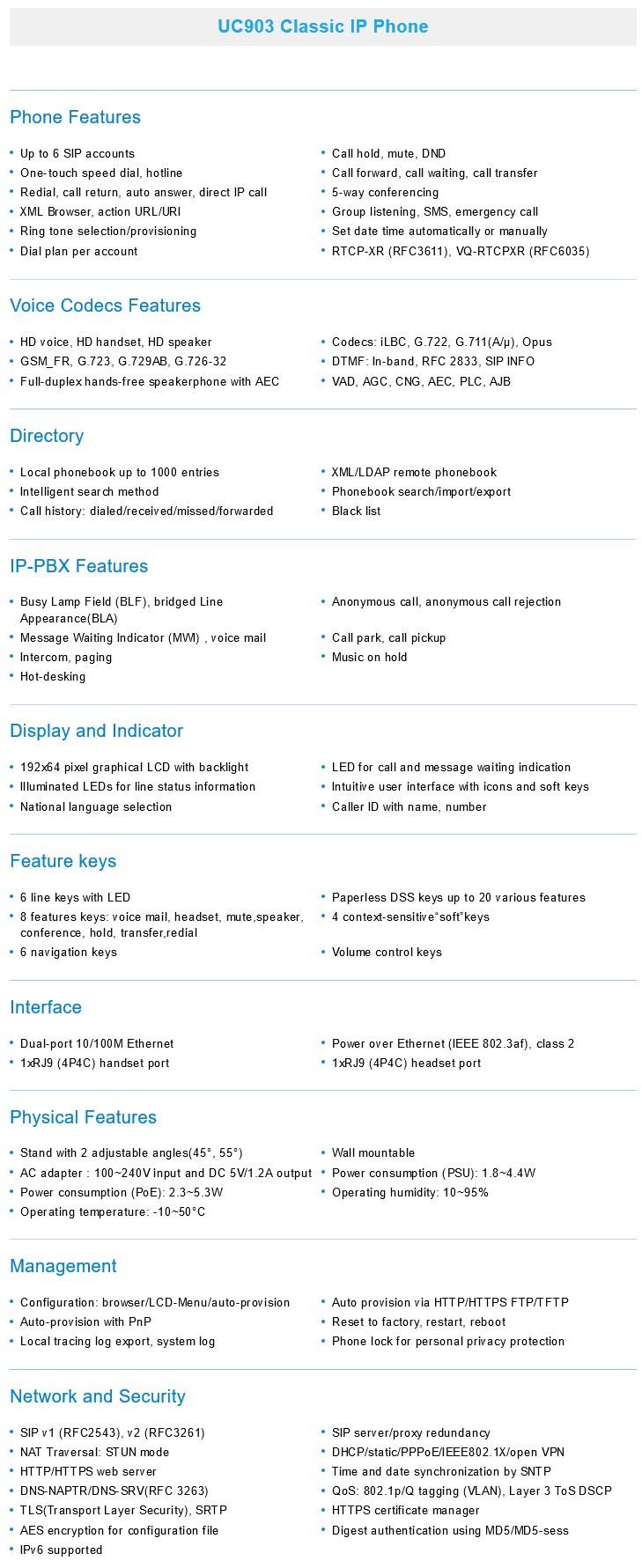 Htek UC903 Classic IP Phone - Desktop Overview 2