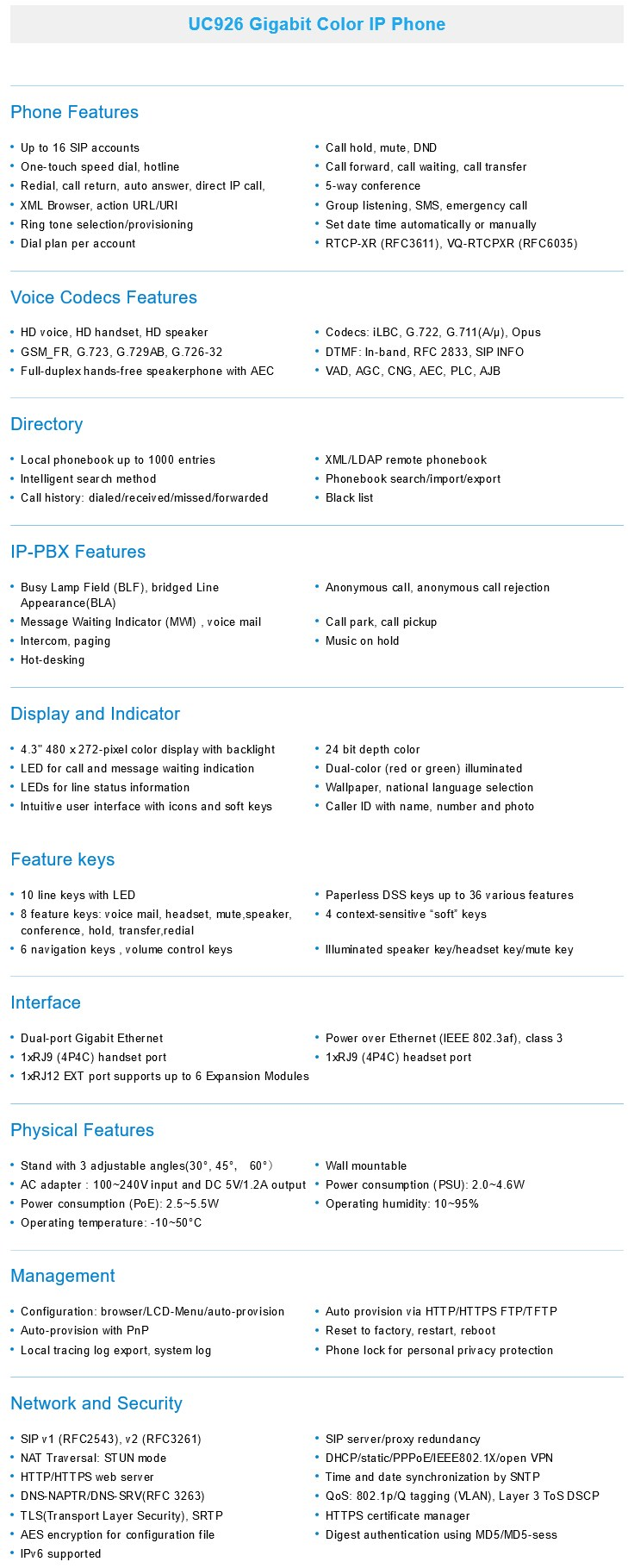 Htek UC926 Gigabit Color IP Phone - Desktop Overview 2