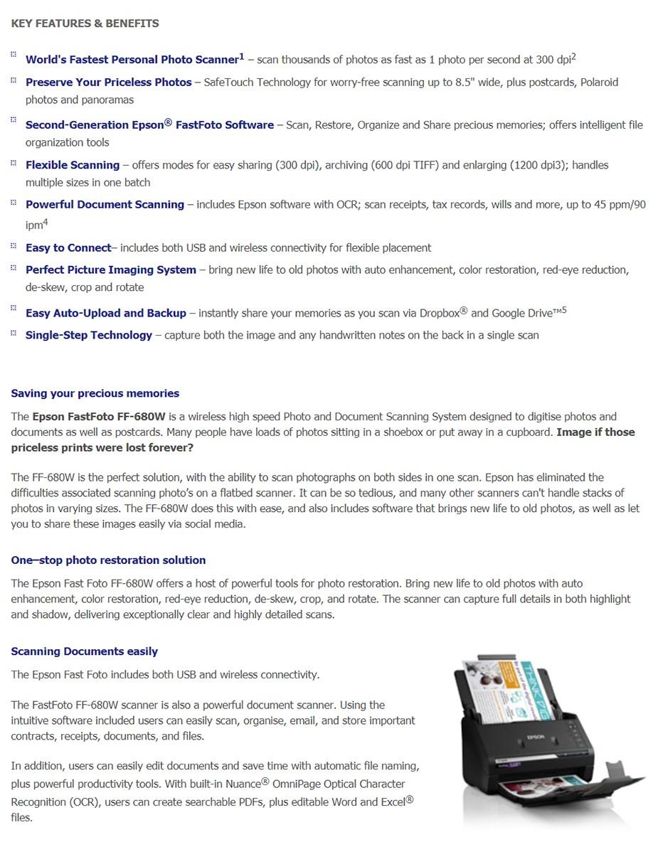 Epson Fast Foto FF-680W A4 Colour Wireless Photo Scanner - Desktop Overview 1