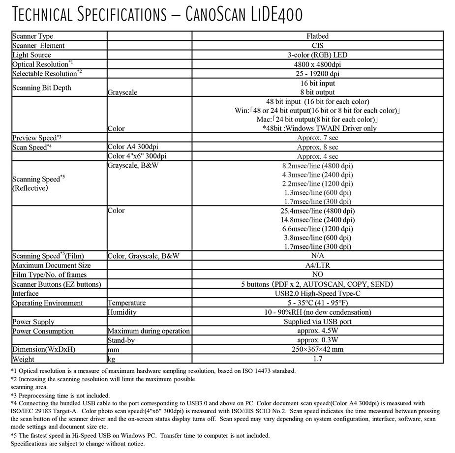 Canon CanoScan LiDE 400 Desktop Colour Flatbed Scanner - Desktop Overview 2