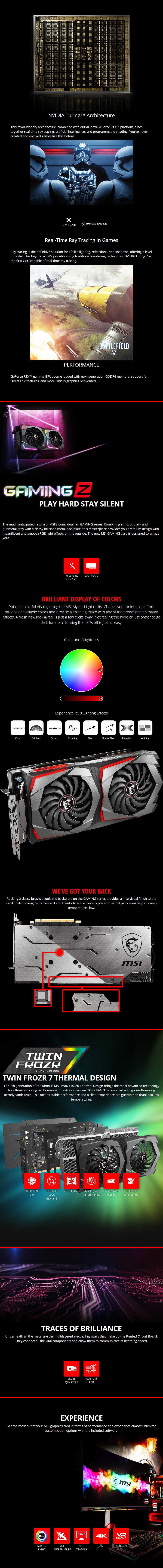 MSI GeForce RTX 2070 GAMING Z 8GB Video Card - Desktop Overview 1