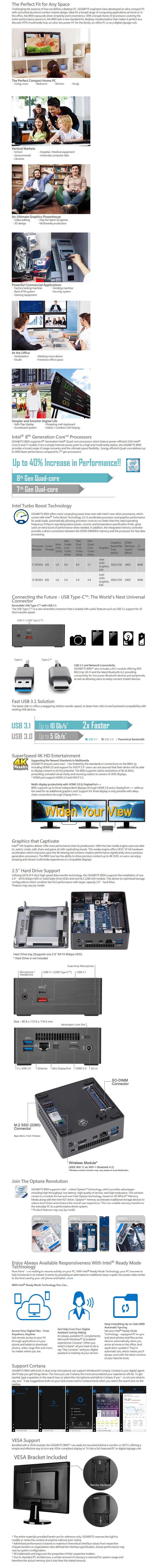 Gigabyte Brix GB-BRi7H-8550 Barebone Kit - Intel i5 8th Gen Processor - Desktop Overview 1