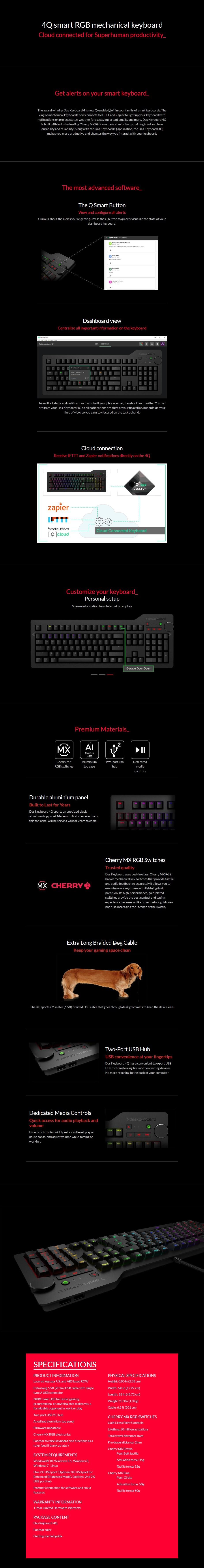 Das Keyboard 4Q Soft Tactile RGB Smart Mechanical Keyboard - Cherry MX Brown - Desktop Overview 1
