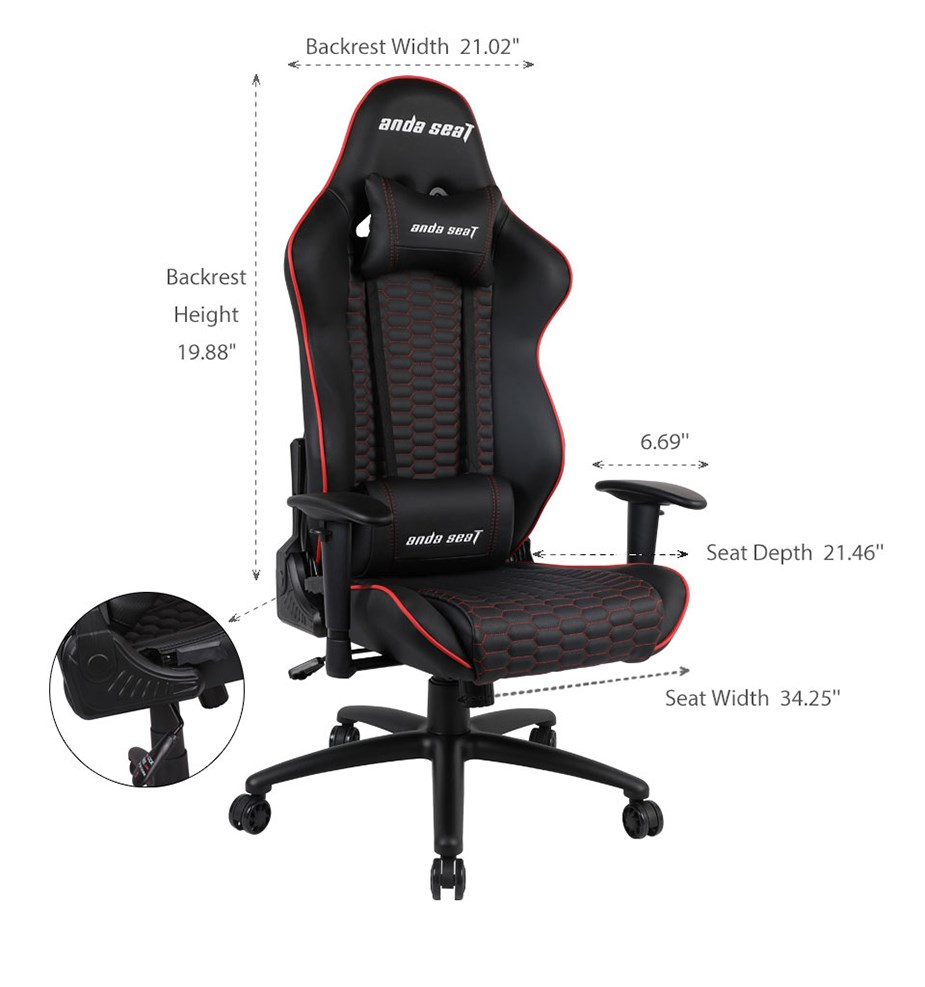 Anda Seat AD4-07 Gaming Chair - Red/Black - Desktop Overview 2