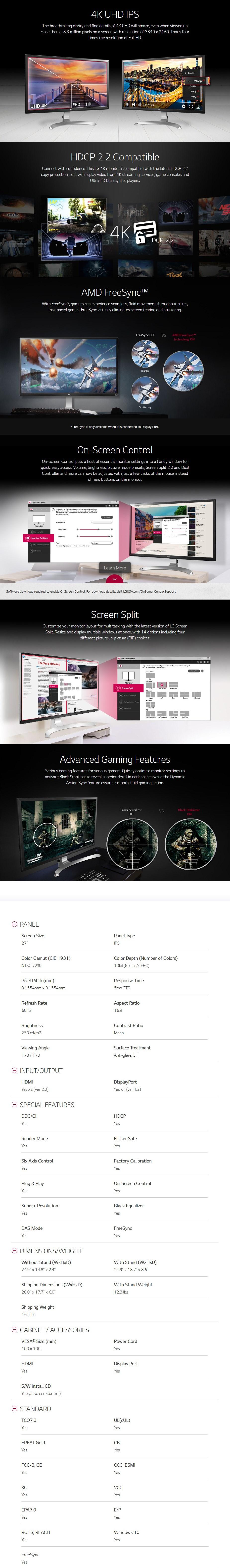 "LG 27UD59-B 27"" 4K UHD IPS Monitor - Desktop Overview 1"