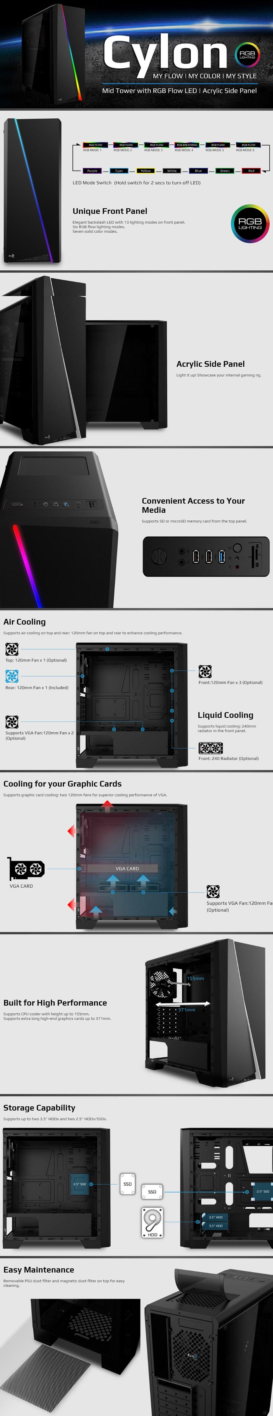 Aerocool Cylon RGB Mid-Tower ATX Case - Black - Desktop Overview 1