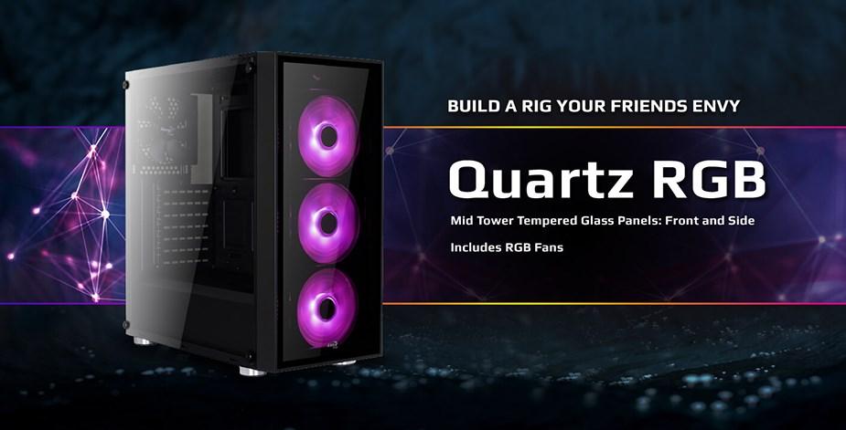 Aerocool Quartz RGB Tempered Glass Mid-Tower ATX Case - Desktop Overview 1