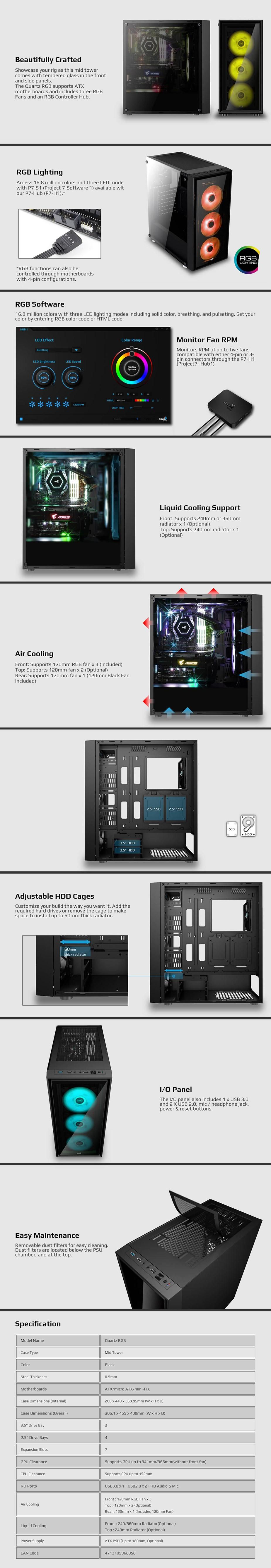 Aerocool Quartz RGB Tempered Glass Mid-Tower ATX Case - Desktop Overview 2