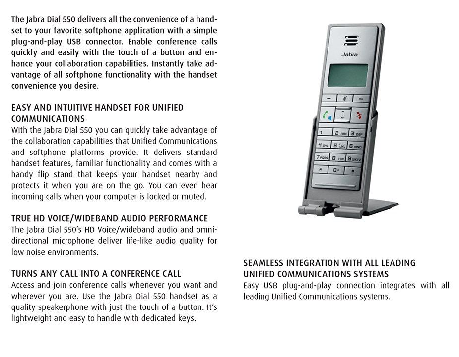 Jabra Dial 550 USB Handset - Desktop Overview 2