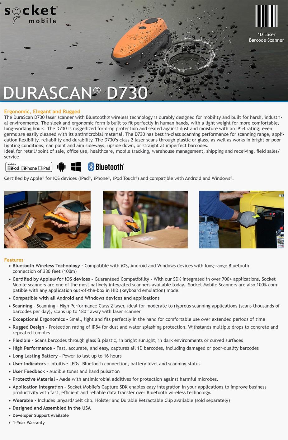 Socket 1D Laser Barcode Scanner - Utility Gray - Desktop Overview 1