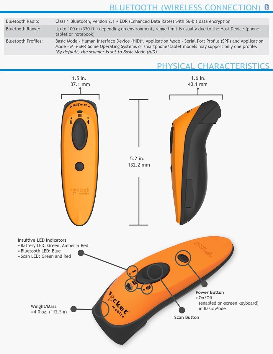 Socket 1D Laser Barcode Scanner - Utility Gray - Desktop Overview 3