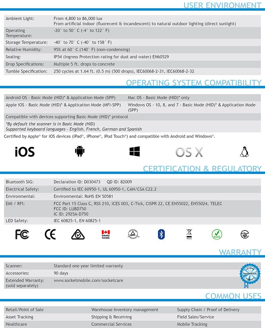 Socket 1D Laser Barcode Scanner - Utility Gray - Desktop Overview 4