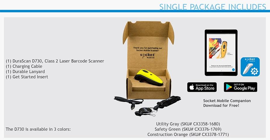 Socket 1D Laser Barcode Scanner - Utility Gray - Desktop Overview 5
