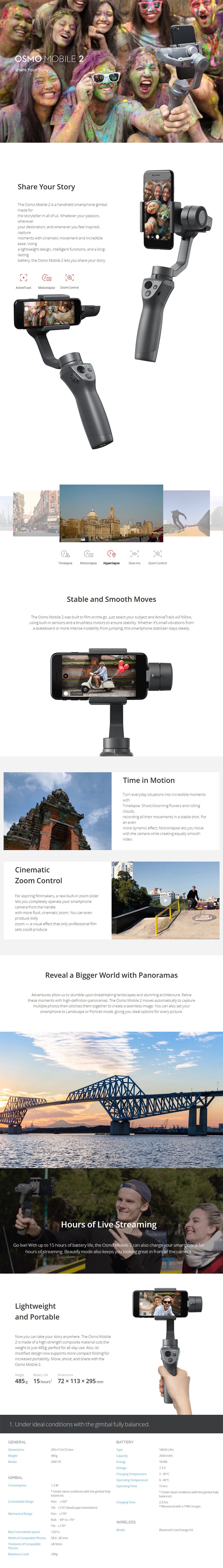 DJI Osmo Mobile 2 Smartphone Gimbal - Desktop Overview 1