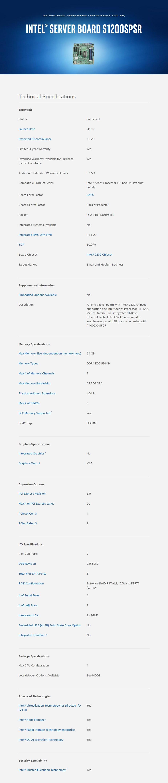 Intel S1200SPSR LGA 1151 Server Motherboard - Desktop Overview 1