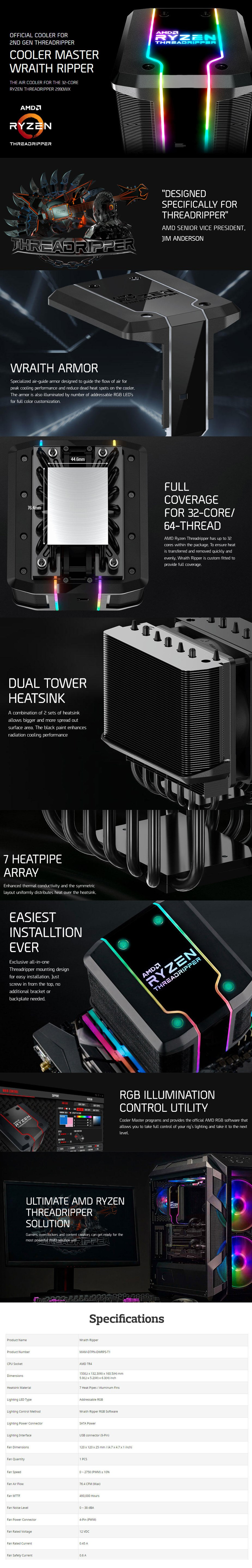 Cooler Master Wraith Ripper AMD TR4 ARGB CPU Cooler - Desktop Overview 1
