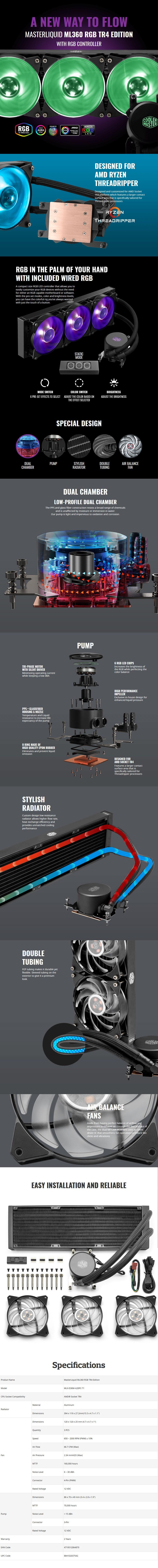 Cooler Master MasterLiquid ML360 RGB Liquid CPU Cooler - TR4 Edition - Desktop Overview 1