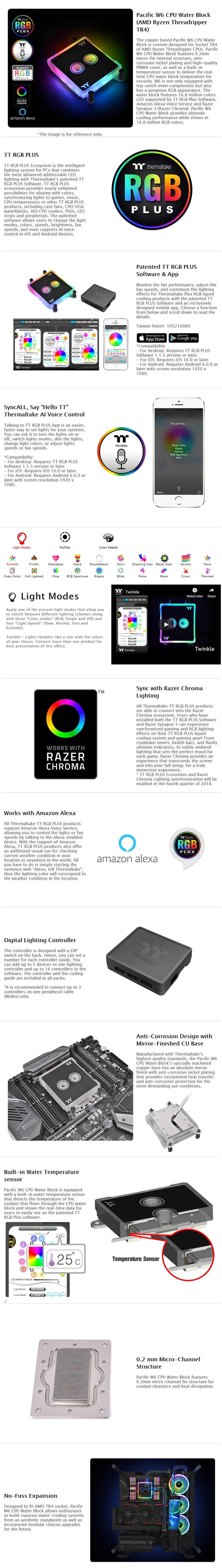 Thermaltake Pacific W6 CPU Water Block for AMD Ryzen TR4 - Desktop Overview 1
