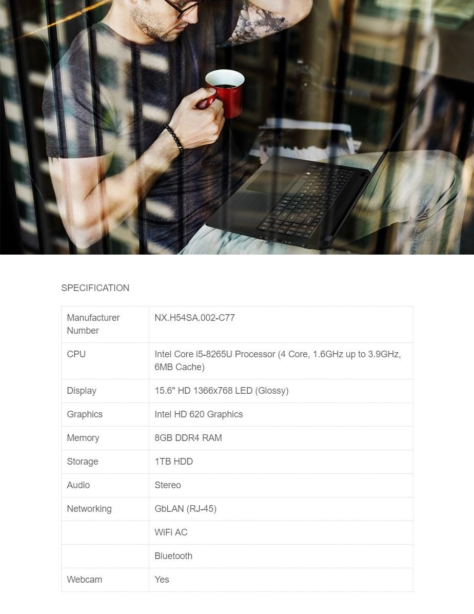 "Acer Aspire 5 A515-52-572L 15.6"" Notebook i5-8265U 8GB 1TB Win10 Home - Desktop Overview 1"