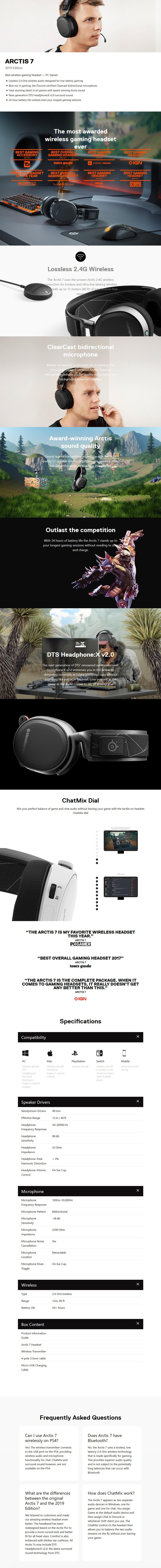 SteelSeries Arctis 7 Wireless Gaming Headset 2018 Edition - Black - Desktop Overview 1
