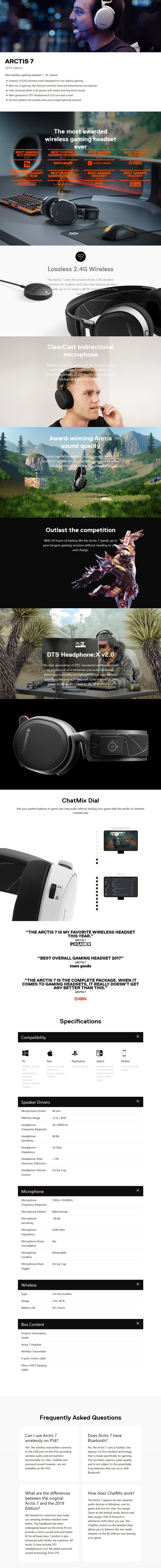SteelSeries Arctis 7 Wireless Gaming Headset 2019 Edition - White - Desktop Overview 1