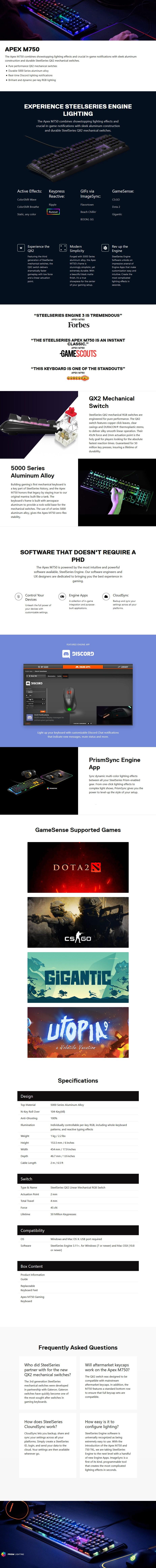 SteelSeries Apex M750 RGB Mechanical Gaming Keyboard - Desktop Overview 1