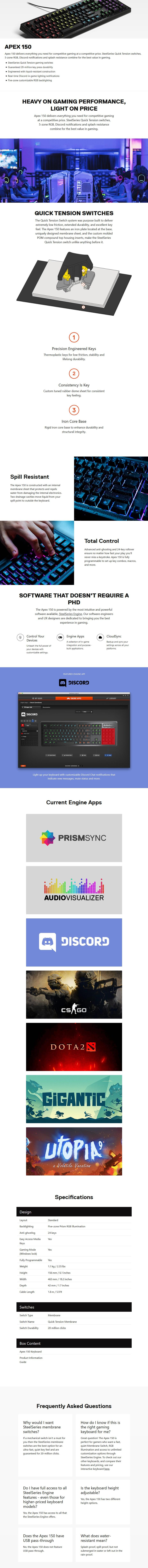 SteelSeries Apex 150 RGB Membrane Gaming Keyboard - Desktop Overview 1