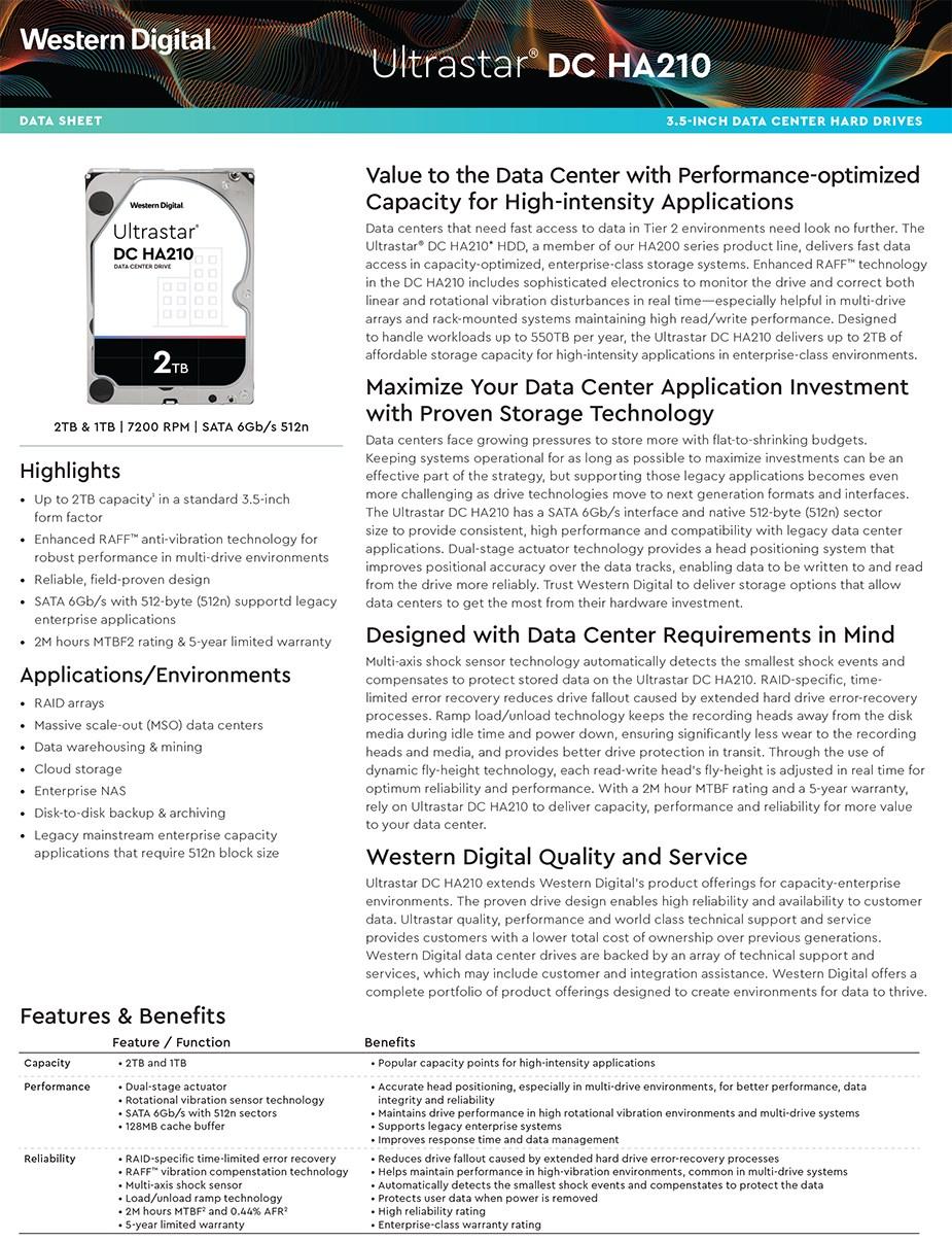"""WD HGST Ultrastar DC HA210 HUS722T2TALA604 2TB 3.5"""" 512n SATA3 Hard Drive - Desktop Overview 1"""